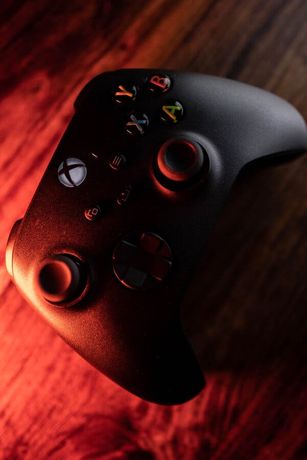 The Xbox controller is trimmed down and sleek.