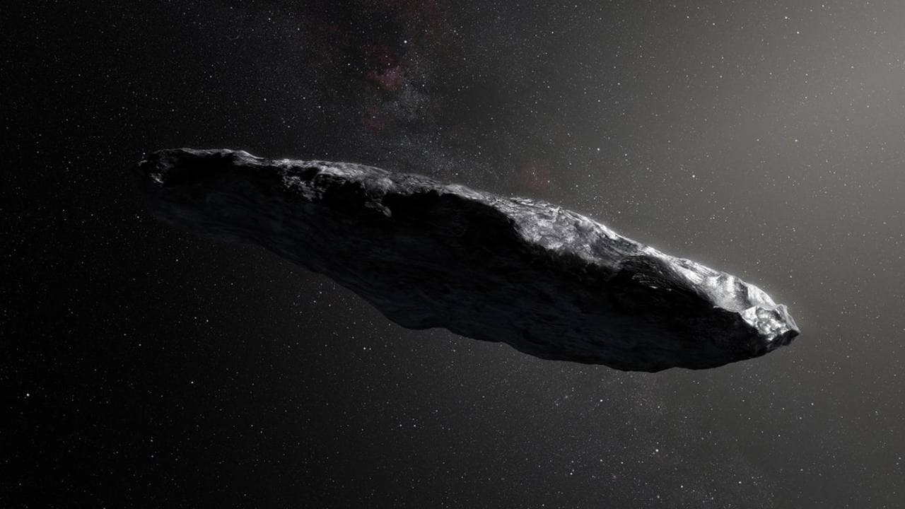 An illustration of 'Oumuamua, the first object we've ever seen pass through our own solar system that has interstellar origins. Image credit: European Southern Observatory/M. Kornmesser
