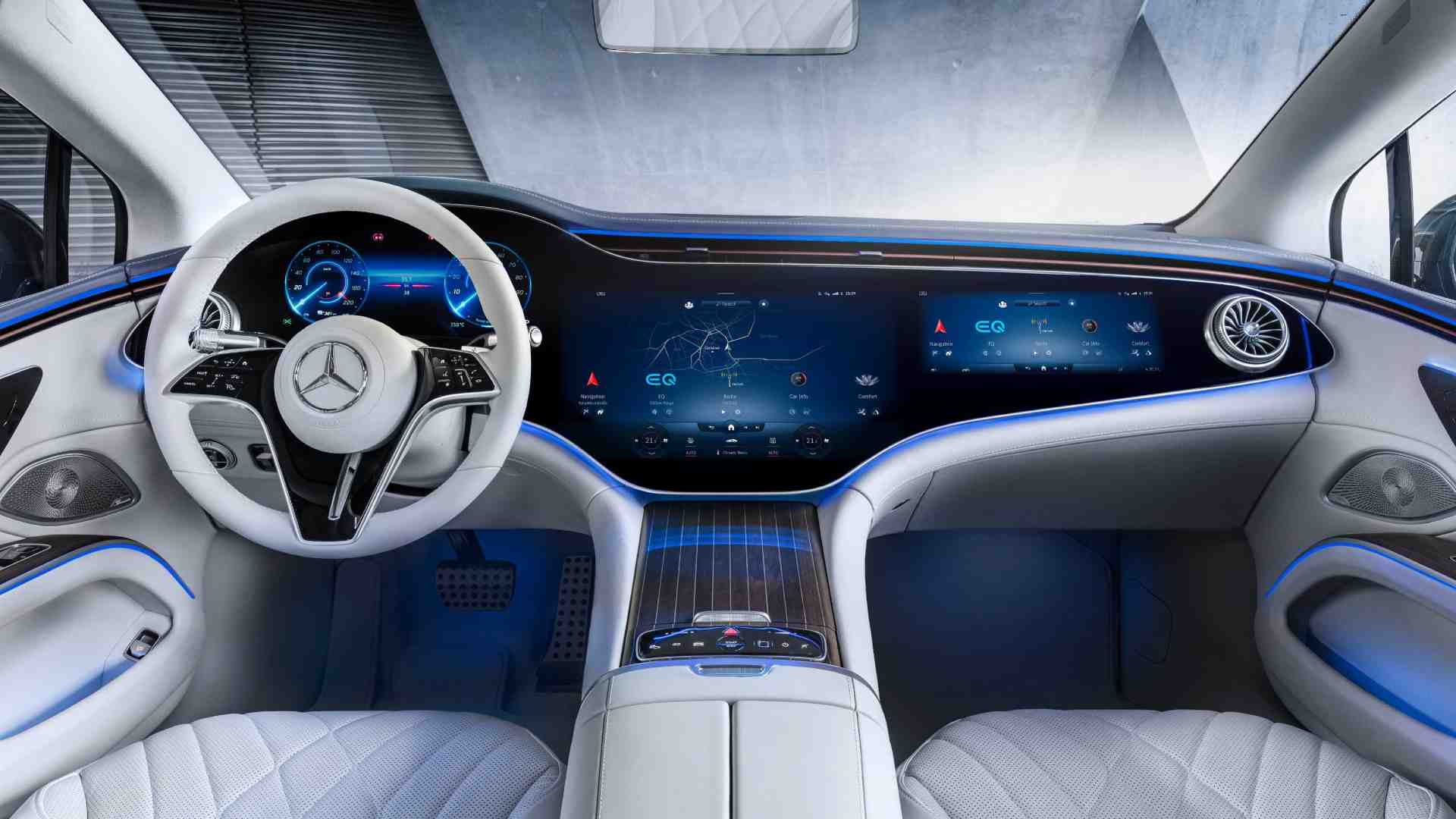 The Mercedes-Benz EQS debuts the MBUX Hyperscreen with three digital displays installed under a curved glass panel. Image: Mercedes-Benz