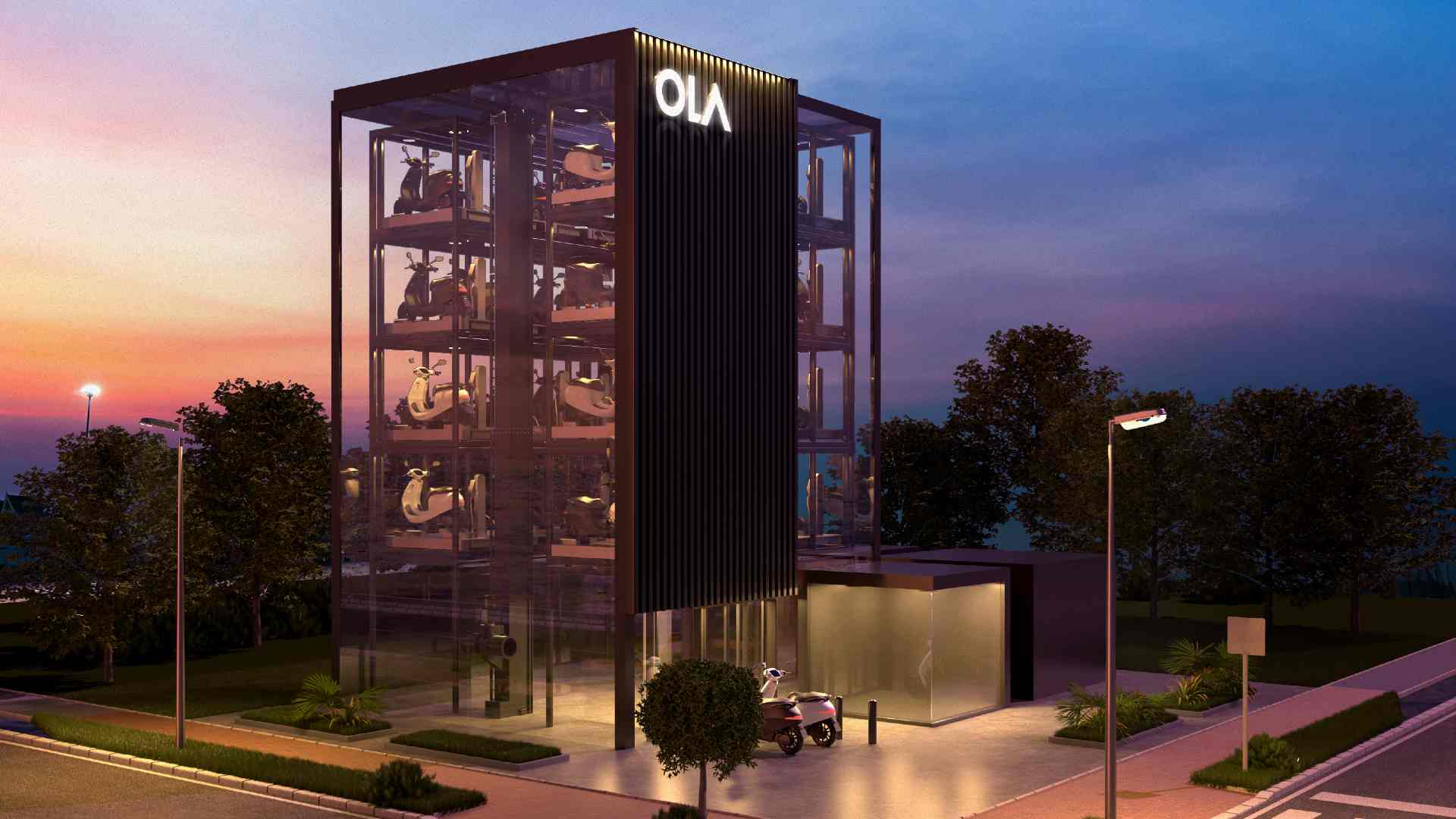 Ola Electric's standalone charging towers will feature automated multi-level parking. Image: Ola Electric
