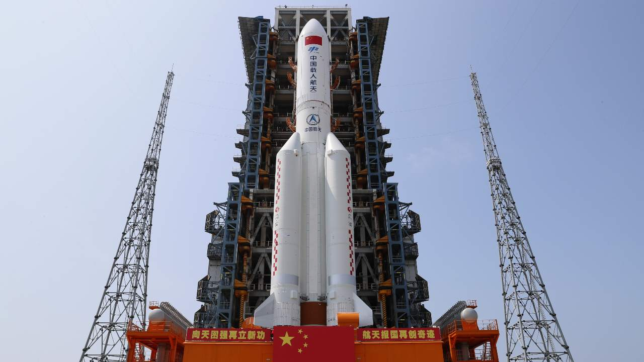 In this photo released by Xinhua News Agency, the core module of China's space station, Tianhe, on the the Long March-5B Y2 rocket is moved to the launching area of the Wenchang Spacecraft Launch Site in southern China's Hainan Province on April 23, 2021. China plans to launch the core module for its first permanent space station this week in the latest big step forward for the country's space exploration program. Image credit: Guo Wenbin/Xinhua via AP