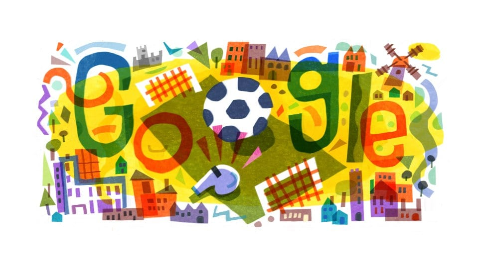 The Google Doodle marks the start of the Euro 2020 championship, which gets underway today. Image: Google