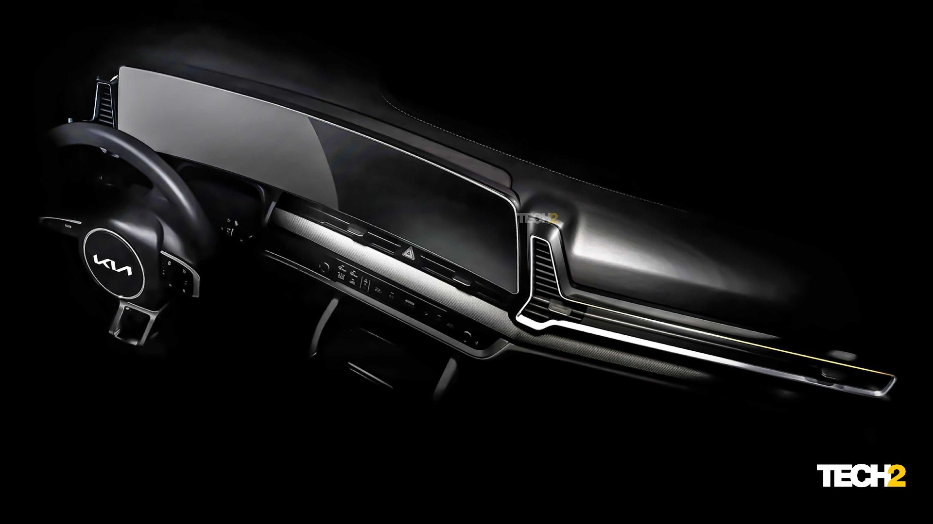 Large, curved display will take centrestage inside the 2022 Kia Sportage. Image: Tech2