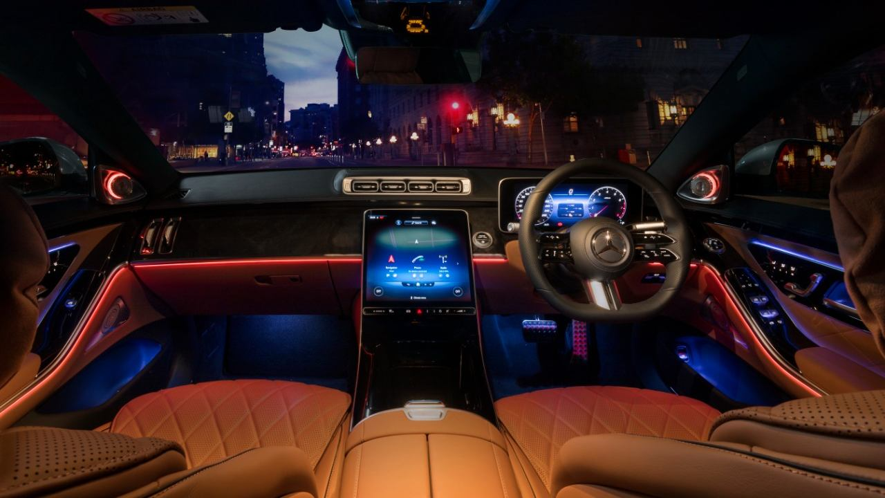 Taking centre stage inside the new S-Class is a 12.8-inch OLED touchscreen infotainment system, which runs the latest MBUX infotainment system. Image: Mercedes-Benz