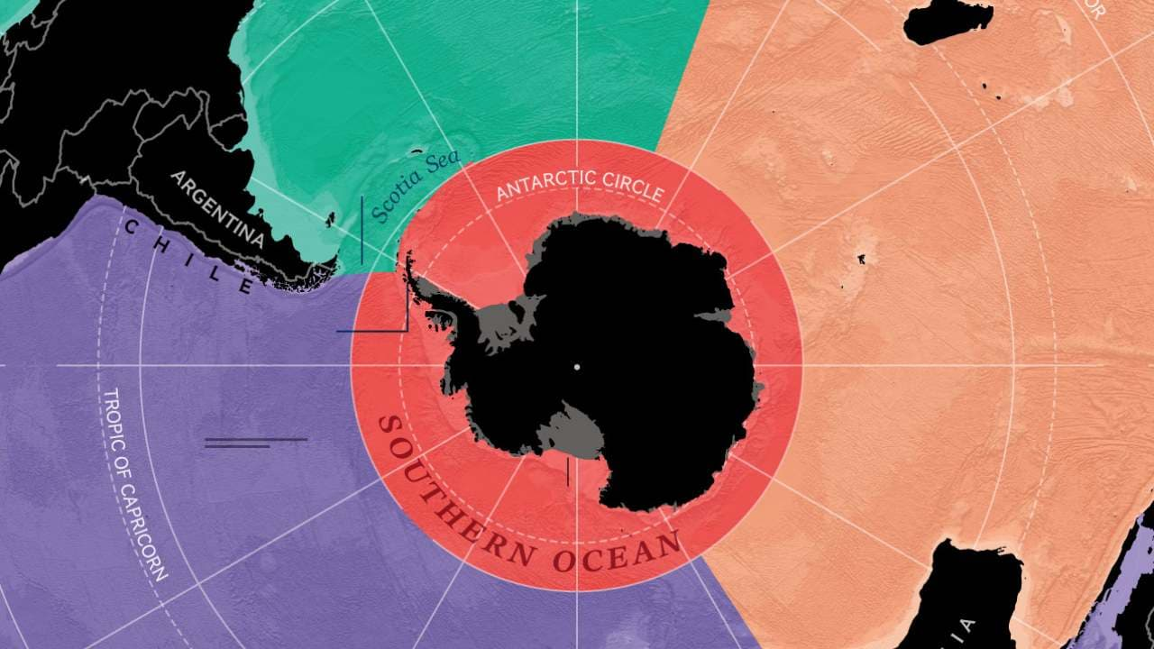 The limits of all the five oceans of the world. Image credit