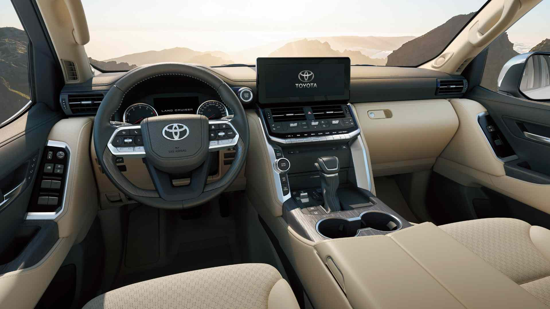 9.0-inch touchscreen takes centrestage on the Land Cruiser LC 300's all-new dashboard. Image: Toyota