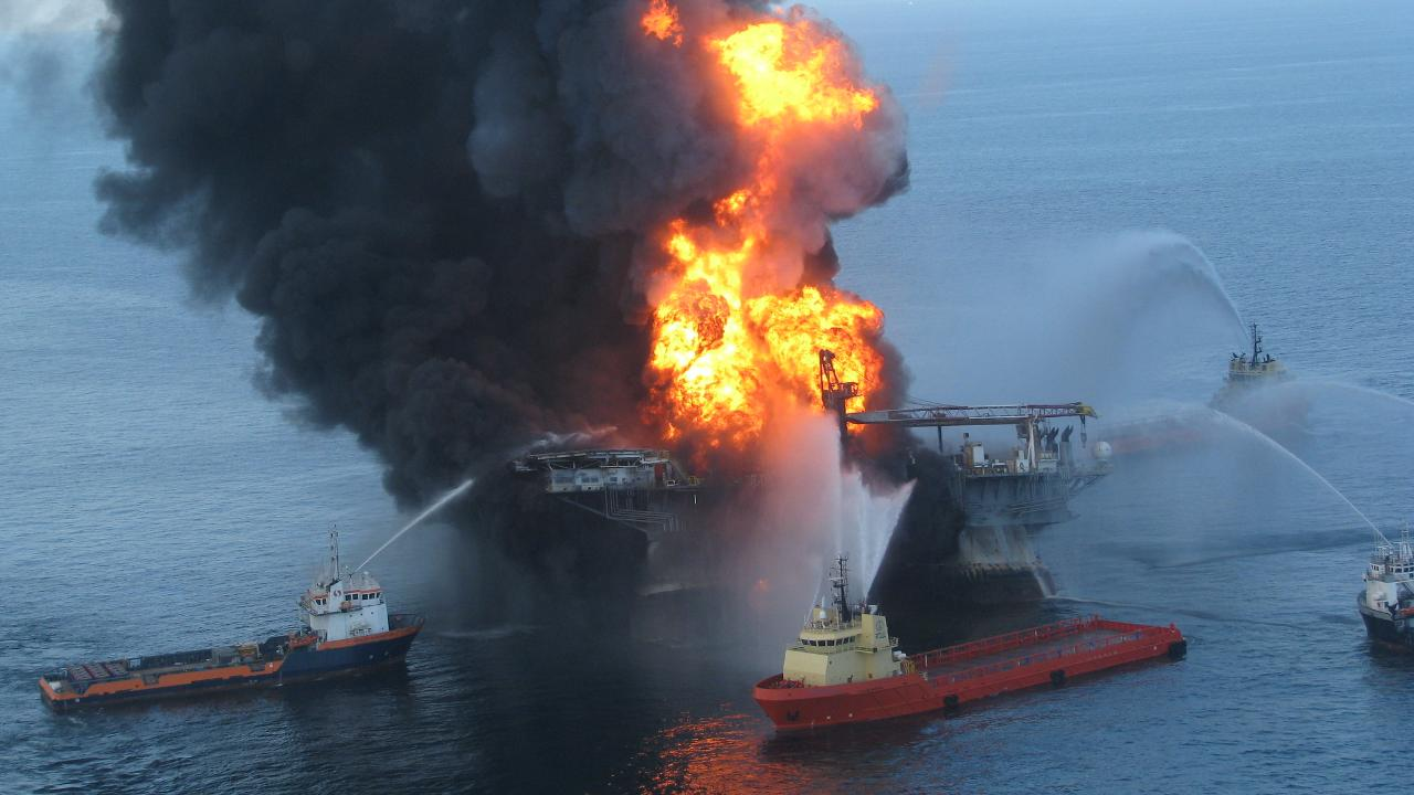 A BP oil rig called Deepwater Horizon exploded and would becomes the deepest-ever oil spill. Image credit