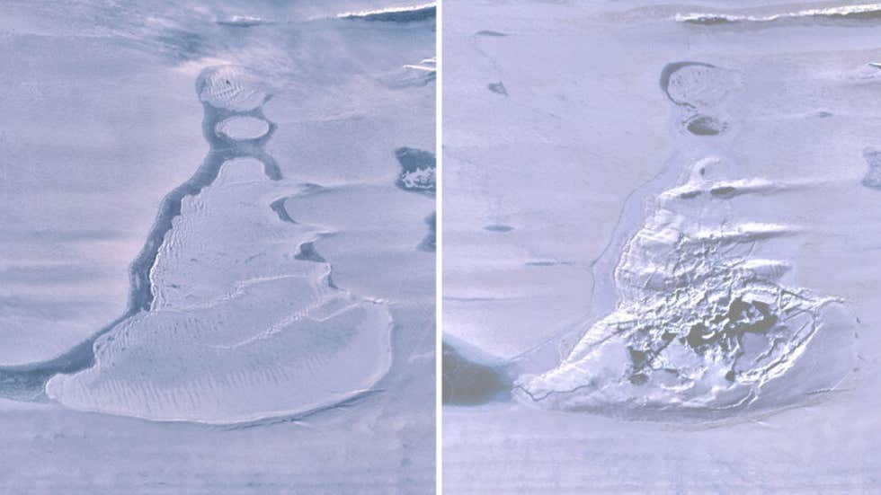 Landsat 8 images over the Southern Amery Ice Shelf show the ice-covered lake before drainage and the resulting ice doline with summer meltwater. Image: Geophysical Research Letters