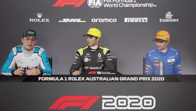 Aiden Jackson (L) does his first F1 press conference. Screen grab from F1 2021