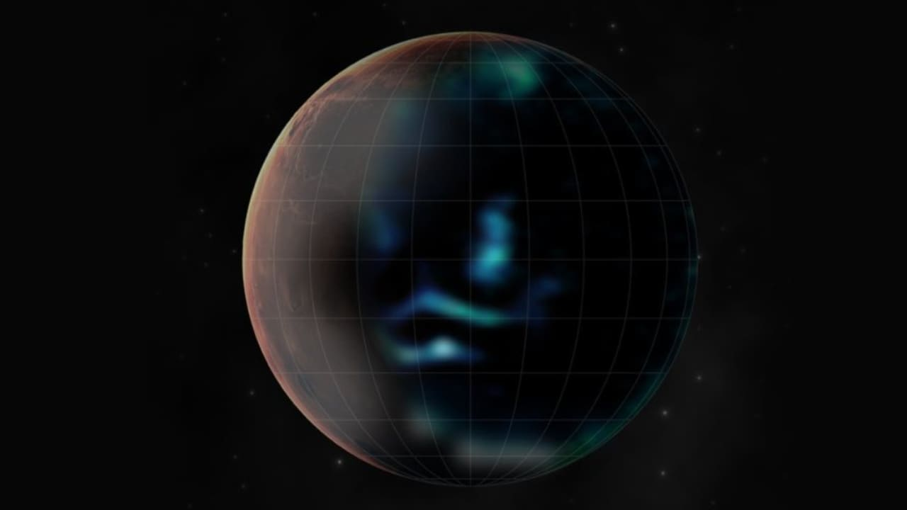 An artist's impression of how Mars' discrete aurora might be viewed from different views including the surface of Mars when the emissions of light from the fleeting phenomenon extend into the visible spectrum as predicted by theory. Image credit: UAE/Twitter/@HopeMarsMission