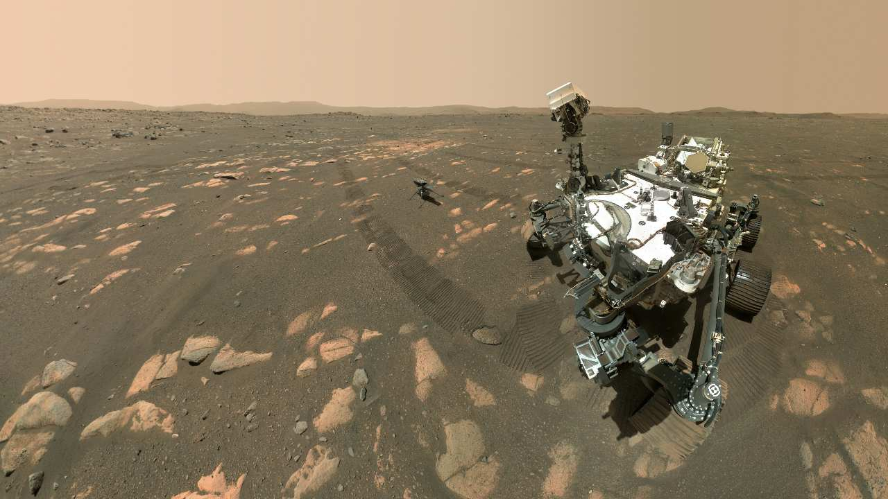 NASA's Perseverance Mars rover took a selfie with the Ingenuity helicopter. Image credit: NASA