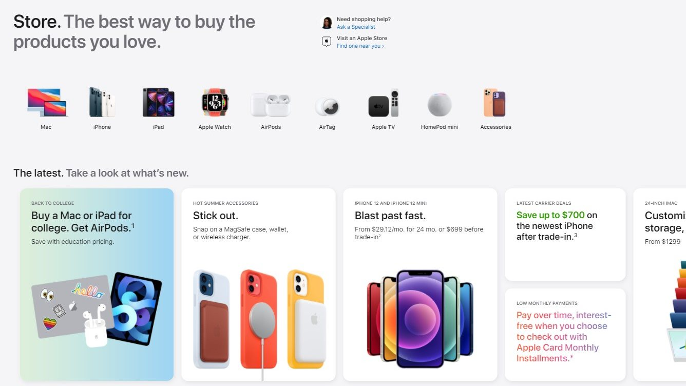 Card-style format means the Apple Store is quite smooth when accessed on a smartphone. Image: Apple