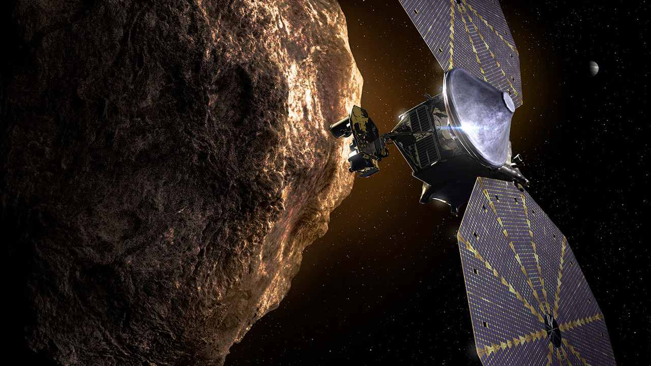 Artist's concept of Lucy spacecraft at Trojan asteroid. Image credit: NASA