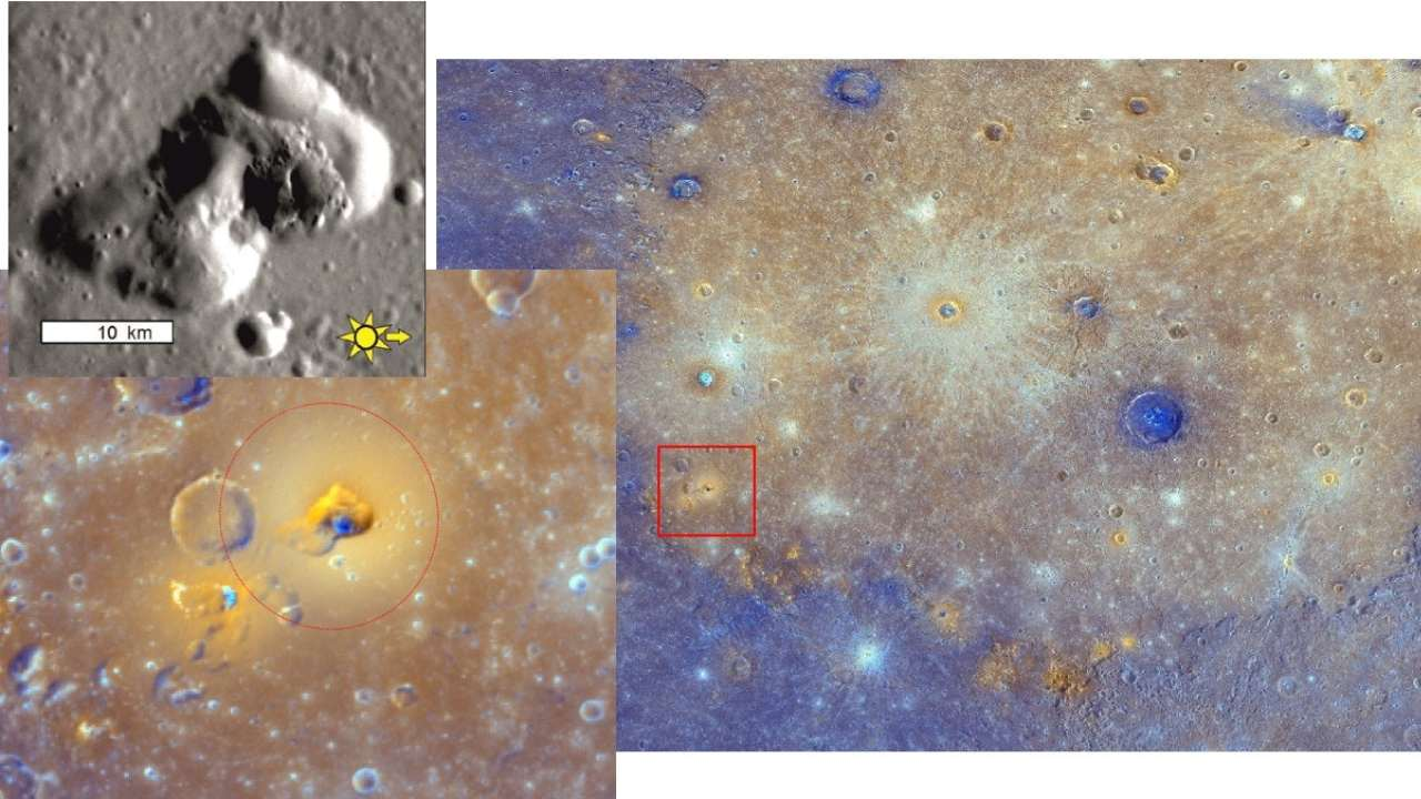 Right: most of Mercury's Caloris basin, its floor covered by dull, orange lava. Brighter orange patches are remnants of explosive eruptions. Lower left: close-up inside the red box of an explosive volcanic deposit. Upper left: details of the vent interior. NASA/JHUAPL/CIW