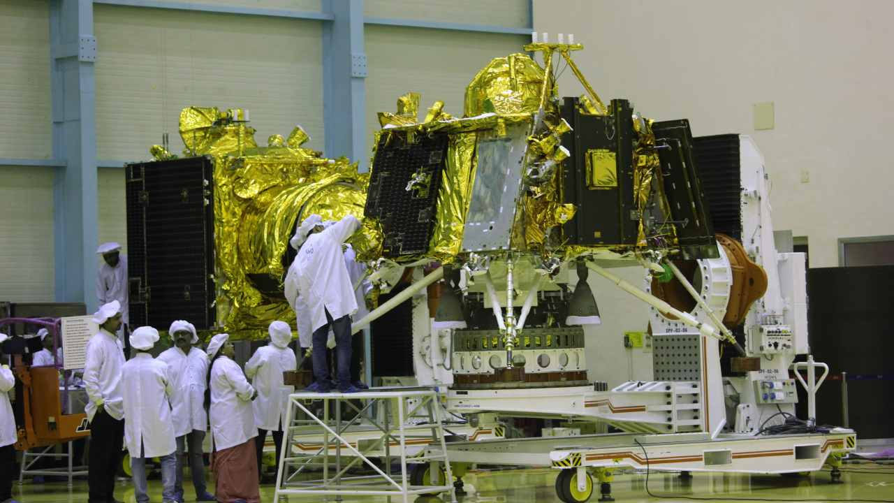 The moon lander Vikram (in the foreground) and orbiter (in the back ground), part of the Chandrayaan 2 mission, in a clean room at ISRO, Bengaluru. Image: Getty