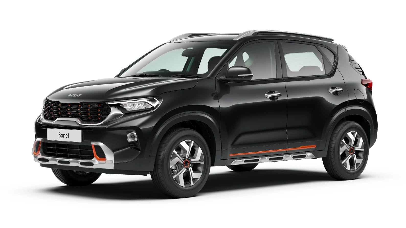 Tangerine accents on the outside will distinguish the First Anniversary Edition from the standard Kia Sonet. Image: Kia