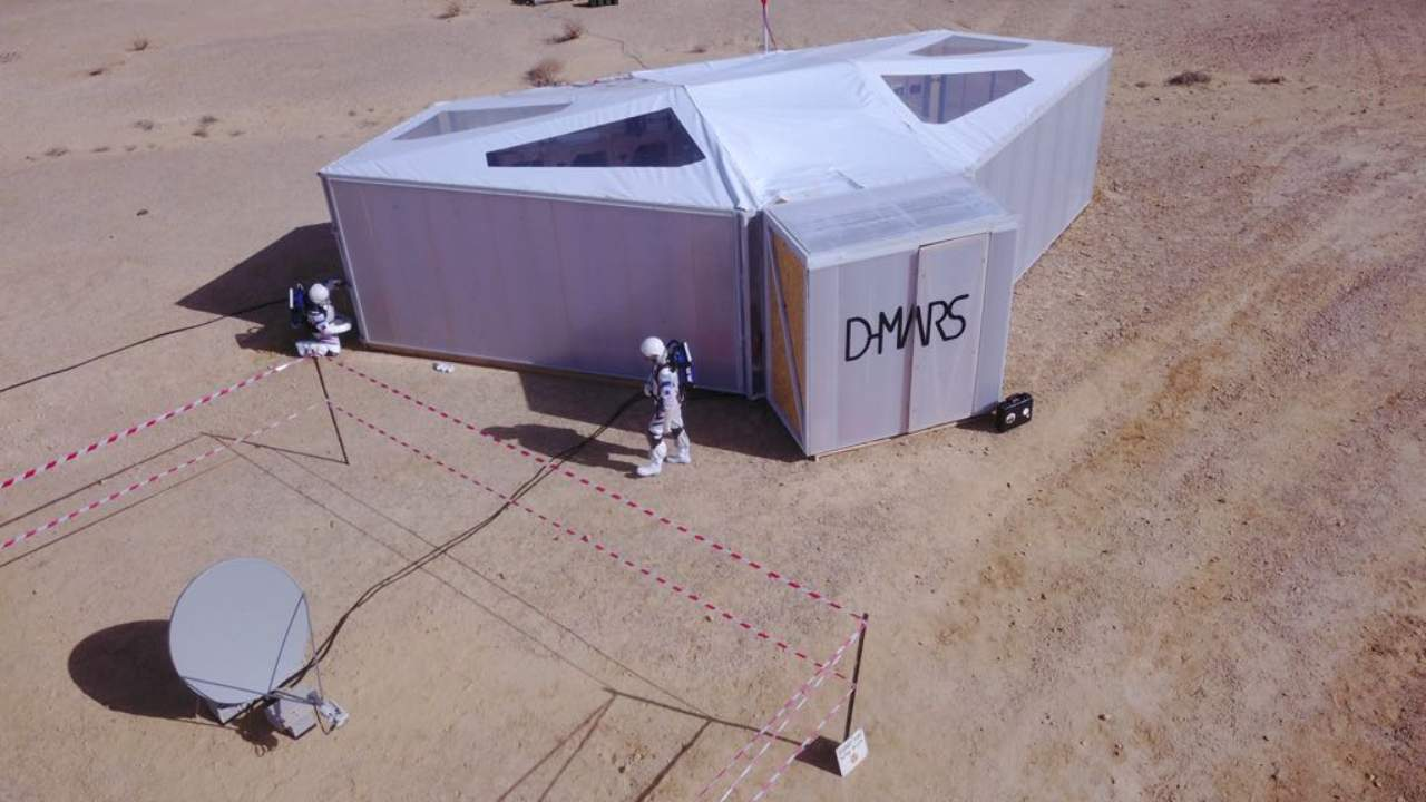 The Austrian Space Forum, a private organisation made up of aerospace specialists, collaborated with Israeli research centre D-MARS to construct the solar-powered base in a huge crater in Israel's sun-baked Negev desert. Image credit: D-Mars